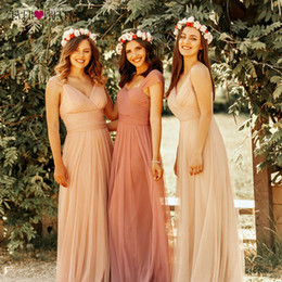 Lavender Blush Wedding Dress Australia - Blush Pink Bridesmaid Dresses Ever Pretty Ep07303 Sweetheart A-line V-neck Sleeveless Wedding Party Dress Elegant For Women Q190522