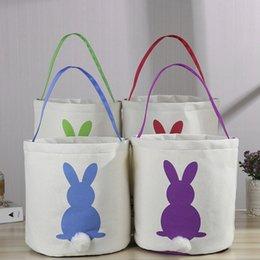 $enCountryForm.capitalKeyWord NZ - Easter Rabbit Basket Easter Bunny Bags Rabbit Printed Canvas Tote Bag Egg Candies Baskets 4 Colors 50pcs
