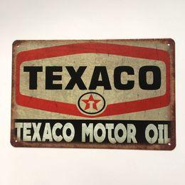 Oil painted metal wall art online shopping - Texaco Motor Oil Retro Vintage Decorative Tin Metal Sign Coffee Bar Wall Pub house Garage Art Man Cave