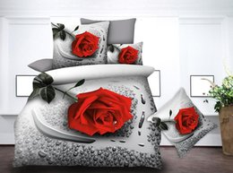 white jacquard bedding set Australia - BEST.WENSD New king bedding set jacquard duvet cover set 3d Rose flower Wedding Four-piece Kit bedding jogo de cama