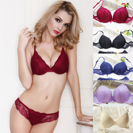 Ladies Bra Wholesalers Australia - Women Ladies Sexy Lace Bra Sets Underwear Set Push Up Padded Bra + Panty Two Pieces Set