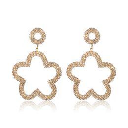 $enCountryForm.capitalKeyWord Australia - Rhinestone Crystal Flower Pendant Earrings for Women Gold Color Copper Drop Earring Fashion Jewelry boucle d'oreille femme 2019
