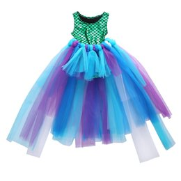 mermaid tutu UK - 2019 New Hot Sale Party Princess Girl Dress Mermaid Tops Bodysuit Tulle Tutu Skirts Outfits Set