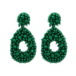 rice shaped beads Canada - Exaggerated Color Rice Beads Earrings Hand-Woven Drop-Shaped Earrings Hot Supply Factory Direct Sales