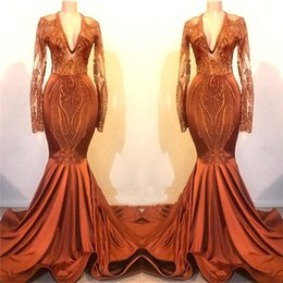 Discount jacket dresses plus size special occasions - Elegant Orange Red Mermaid Prom Dresses Sheer Long Sleeves Appliques Lace Special Occasion Dresses Evening Wear Fishtail