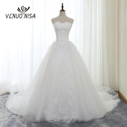 royal wedding pictures NZ - Elegant White Lace Wedding Dress VLNUO NISA Delicate Beading Applique Sexy Strapless Bridal Dress Royal Train Wedding Gowns