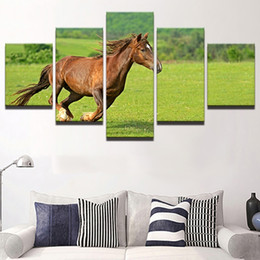 Canvas Prints Frame NZ - Framed Abstract Modern Home Decoration 5 Panel Animal Horse Canvas Print Painting Wall Art Picture For Living Room Modular Pictures