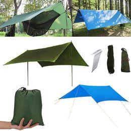 3 Cores À Prova D 'Água Camping Mat 3 * 3 M Tenda Pano Multifuncional Toldo Tarps Piquenique Mat Tarp Shelter Sombra do Edifício Do Jardim CCA11703 5 pcs em Promoção