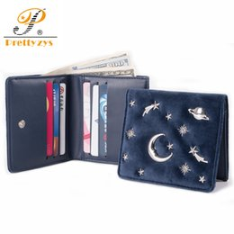 $enCountryForm.capitalKeyWord Australia - Women Velvet Wallet Female Slim Purse Short Small Pu Leather Change Card Holder Coins Zipper Light Star Moon Hasp Clutch Girs MX190718
