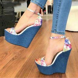 Sale Leather Sandals Canada - Hot Sale-New Designer Print Denim Sandals Roman Sandals High Quality Wedges High Heels Peep-Toe Platform Shoes Woman