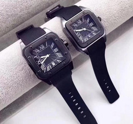 mens square luxury watch NZ - HOT gentalmen mens watches fashion women lovers wristwatch rubber square dial Female Relogio Montre Femme Free Shipping