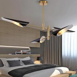 $enCountryForm.capitalKeyWord Australia - Post-modern LED pendant light restaurant bedroom living room lamp creative personality wrought iron airplane oblique black white