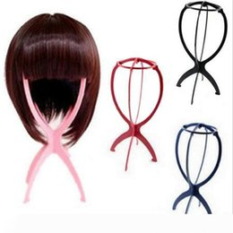 hair stand displays UK - Free Shipping 5pcs Cheap Wig Stand Folding Plastic Wig Stand Stable Durable Hair Support Display Wigs Hat Cap Holder hair extension tools