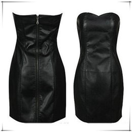 23f4e694ea36c Sexy Black Faux Leather Pencil Bodycon Boob Prom Tube Strapless Mini Dresses  6XL Plus Size Womens Shapewear