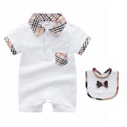 Cotton Overall Sales Australia - 2018 Summer Hot Sale Baby Garment Short Sleeve Pure Cotton Creeping Up Clothes Plaid Lapel Boy Jumpsuits Overalls Children