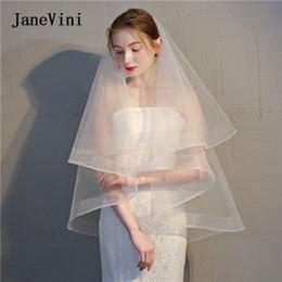 JaneVini 2019 Simples Véu De Noiva Véus De Noiva Curto Comprimento Da Ponta Do Mar Marfim Duas Camadas Véus De Noiva Com Pente Bruidssluier Barato em Promoção