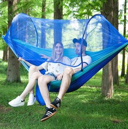 Cloth Nets Australia - Outdoor hammock with mosquito net anti-mosquito parachute cloth automatic speed open tent type chair anti-rollover free shipping