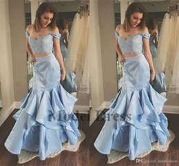 $enCountryForm.capitalKeyWord Australia - Light Sky Blue Mermaid Prom Dresses Sweetheart Off The Shoulder Lace Satin Two Piece Prom Dresses Party Dresses Sweep Train