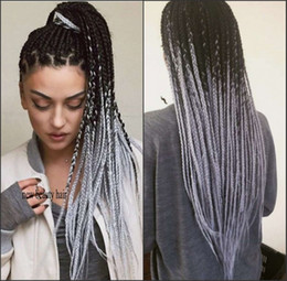 Grey fashion wiGs online shopping - Hot Fashion Ombre grey Braid Wig Synthetic Lace Front Wigs with Baby Hair Heat Resistant Fiber Braided Box Braids Wigs for Black Women