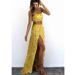$enCountryForm.capitalKeyWord NZ - Women Bandage Crop Top Splits Skirt Sexy 2 Piece Sets Summer Beach Sequined Outfits Party Night Tassel Suit Vestidos
