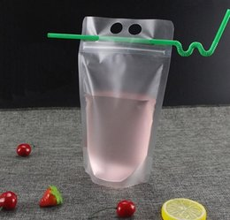 $enCountryForm.capitalKeyWord Australia - 500ML Clear Drink Pouches Bag With Straw Reclosable Zipper Heavy Duty Hand-held Translucent Stand-up Plastic Pouches Bags Drinking Bags