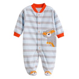 baby clothes feet UK - Newborn Baby Rompers Autumn Winter Package Feet Baby Clothes Polar Fleece Infant Overalls Baby Boy Girl Jumpsuits Clothing Set J190524