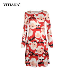 96369483d7403 Plus Size S-5xl Winter Christmas Party Dress 2017 Women Long Sleeve O-neck Casual  Print Dresses Cute Cartoon New Year Clothing Y19012201