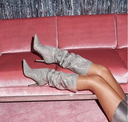 $enCountryForm.capitalKeyWord Australia - Drop Shipping Spring 2019 Hot Woman Sliver Diamond Crystal Bling Bling Fold Mid-calf Pointed Toe High Top Sexy Boots Lady Shoes