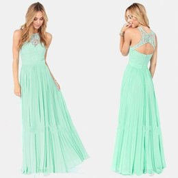 $enCountryForm.capitalKeyWord Australia - Mint Green Chiffon Lace Bridesmaid Dresses 2019 A Line Illusion Top Keyhole Backless Pleats Long Maid of Honor Gowns Cheap BM0170