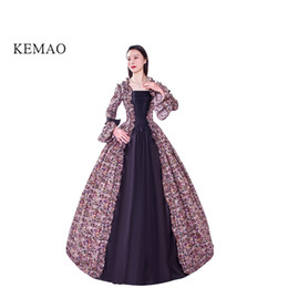 feb589e2583c4f Victorian Rococo Costume Women's Adults' Dress Vintage Cosplay Flocked Long Sleeves  Bell Ankle Length party dress