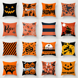Wholesale Halloween Pillowcases Cover Pumpkin Shark Striped Throw Pillow Case Home Sofa Car Decorative Xmas Home Decorative Without Core