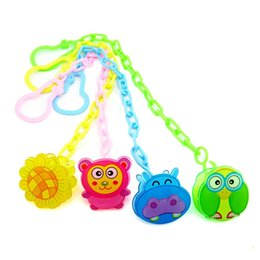 Dummy Clips Wholesalers Australia - Cartoon Baby Clip Chain Beaded Pacifier Soother Holder Clip Nipple Teether Dummy Strap Chain plastic A4357