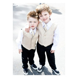 Kid Brown Suit Australia - New Beige Boy Vests 2019 Four Boutton Slim Fit Wedding waistcoat Ring Bearer Suit Vests Kids Formal Party Wear Vest