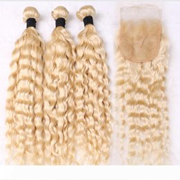 honey blonde virgin curly hair UK - ELIBESS HAIR 613 Honey Blonde Curly Human Hair Extensions 100g piece 3 Deep Wave Bundles Peruvian Virgin Hair with Closure,4Pcs Lot