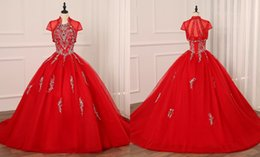 Wholesale sliver jacket for sale - Group buy Sexy Red and Sliver Embroidery Quinceanera Prom dresses with Jacket Ball Gown Beaded Tulle Keyhole Evening Formal pageant Sweet Dress