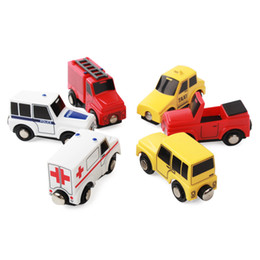 Small Child Toy Car UK - Smooth Flawless Wooden Small Car models Jeep Ambulance Fire truck Taxi Police car  Convertible car Children Kid Connectable Magnetic Trolle