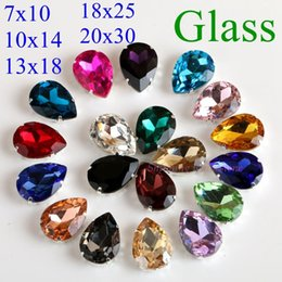 $enCountryForm.capitalKeyWord Australia - Drop Shape Glass Rhinestones With Claw Sew On Teardrop Crystal Stone Strass Diamond Metal Base Buckle Wedding Decoration