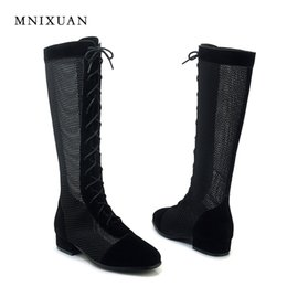 Net heeled saNdal online shopping - MNIXUAN Fashion women sandals boots spring shoes new arrival summer cool boots knee high low heeled net high