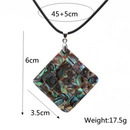 abalone necklaces wholesale NZ - Personality Square Women Necklaces Pearl Abalone Shell Necklace Handmade Black Rope Chain Charm Necklaces Clavicle Pendants Bluk Jewelries