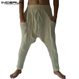 3f3b2e1684808 INCERUN 2019 Mens Casual Trousers Pockets Drop Crotch Solid Retro Fold Workout  Yoga-pants Loose Joggers Hip-hop Men Harem Pants