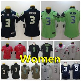 2019 Women 3 Russell Wilson Seattle Seahawks Football Jersey 100% Stitched Embroidery  Russell Wilson Color Rush Women Football Shirts 2ac5014c0