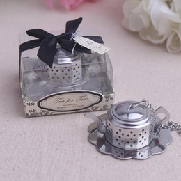 Chinese New Year Gift Pack Australia - Teapot Shaped Stainless Steel Tea Strainer Wedding Favor Gifts Creative Tea Infuser Gift Box Packing + DHL Free Shipping
