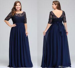 $enCountryForm.capitalKeyWord Australia - Dark Navy Black Burgundy Half Long Sleeves Plus Size Prom Dresses Lace Top A Line Chiffon V Back Mother of Bride Dresses Cheap Gowns