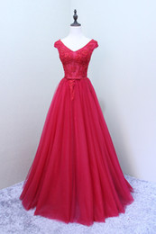 White Dresses Red Sash Australia - 2019 Sexy V-neck A-line Women Evening Dresses Lace Appliques Pearls Beadings Red Tulle Prom Dresses with Sash Lace Up Bridemaid Gowns