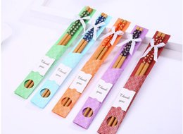 "China Gifts Souvenirs Australia - 350pairs China ""East Meet West"" Natural Bamboo Chopsticks Tableware Wedding Favor Gift Souvenirs Free Shipping SN1961"