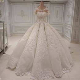 $enCountryForm.capitalKeyWord NZ - New Fashion Wedding Dresses 2019 Scoop Neck Lace Applique Beads Sequined Ball Gown Short Sleeves Tulle Court Train Wedding Bridal Gowns