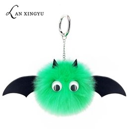 trendy hand bags Australia - Creative bat plush keychain hand stitching pompom pendant ladies bag key ring accessories car key alloy jewelry pendant