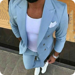 white piece coat pant NZ - Blue Men Suits Groom Wedding Tuxedos Latest Coat Pants Designs Man Suit Male Blazers Double Breasted Jacket Wide Peaked Lapel 2 Pieces