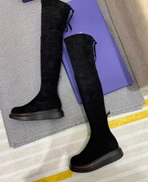 tall thigh high boots Australia - Hot Sale- womens Ladies black REAL LEATHER with Stretch pu chunky platform wedge heels Thigh-High Over-the-Knee TALL BOOTS