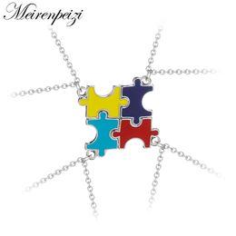 $enCountryForm.capitalKeyWord Australia - 4 Pieces Autism Puzzle Necklace Set Best Friend Sister Necklaces Matching Colorful Enamel Friendship Jewelry Party Gift Set